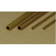 KS 9854 - Uzavretý štvorcový profil dutý, mosadz 6,0 x 6,0 mm, stena 0,45 mm, 2 ks