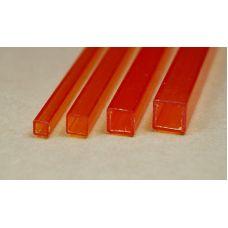 Rab 433-55/3 - Hranol dutý, priehľadný oranžový, štvorcový, 4,0 x 4,0 mm, vnútorný rozmer 3,0 x 3,0 mm, jeden kus
