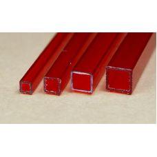 Rab 434-53/3 - Hranol dutý, priehľadný červený, štvorcový, 3,0 x 3,0 mm, vnútorný rozmer 2,0 x 2,0 mm, jeden kus