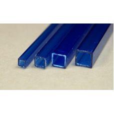 Rab 437-55/3 - Hranol dutý, priehľadný modrý, štvorcový, 4,0 x 4,0 mm, vnútorný rozmer 3,0 x 3,0 mm, jeden kus