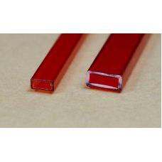 Rab 442-53/3 - Hranol dutý, priehľadný červený, obdlžníkový, 2,0 x 4,0 mm, jeden kus