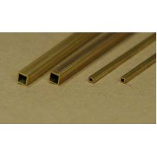 KS 8149 - Uzavretý štvorcový profil dutý, mosadz, 1,6 x 1,6 mm, stena 0,35 mm, 2 ks