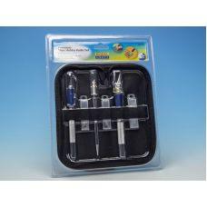 MC PKN4318/S - Sada skalpelov, skalpel č. 1 a č. 2, stredný skalpel, microskalpel s rydlom a 15 náhradných čepelí